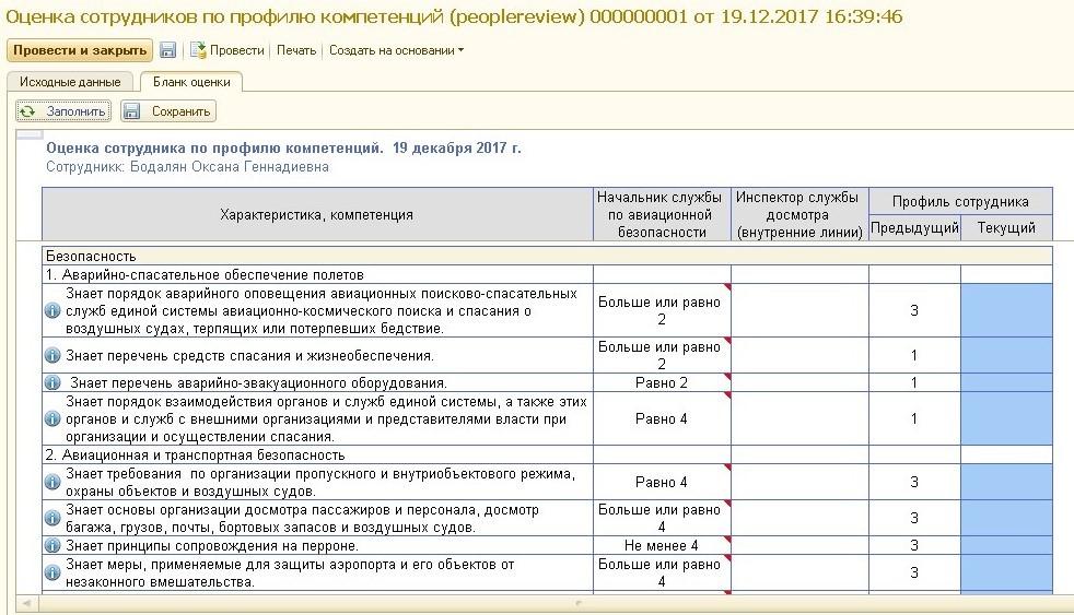 Оценка сотрудника по модели компетенций в системе «ТопФактор: Управление талантами»